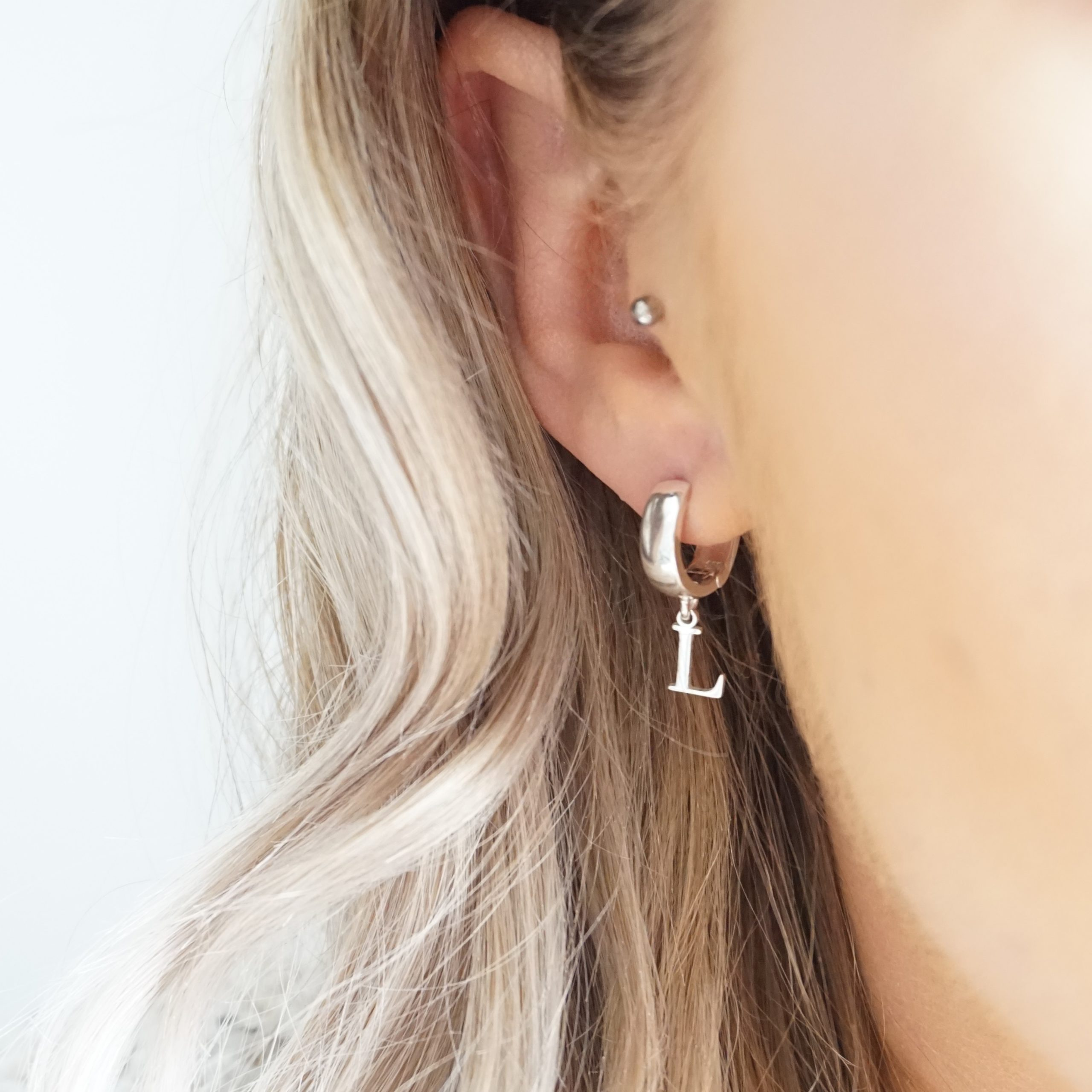 sterling silver initial hoop earrings