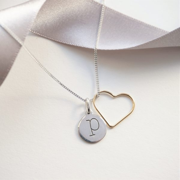 sterling silver lowercase initial necklace with gold heart