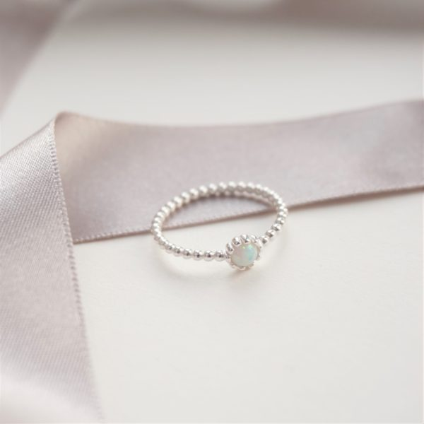 sterling silver beaded ring with opal stone