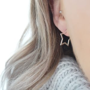 Sterling silver star hoop stud earrings