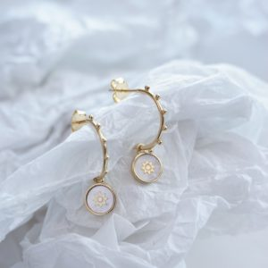 gold sunshine pearl hoop earrings