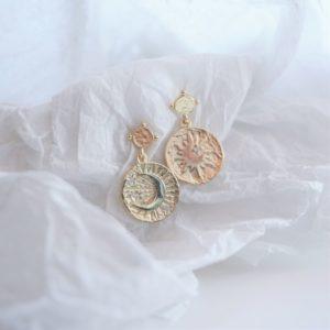 gold sun and moon drop earrings