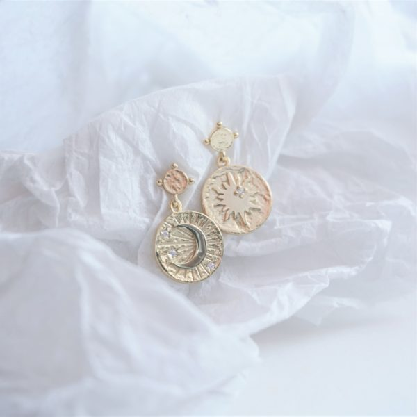 gold sun and moon drop earrings