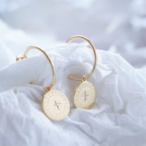 gold star disc stud earrings