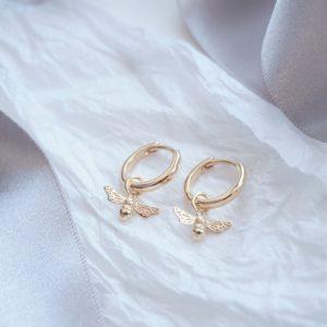 gold bumble bee hoop earrings