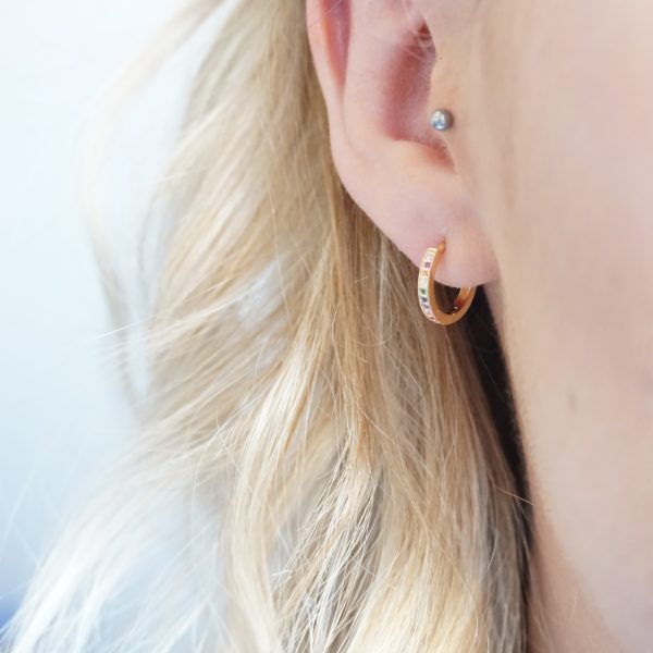 gold rainbow huggie hoop earrings