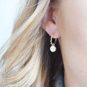 gold sunshine pearl hoop earrings