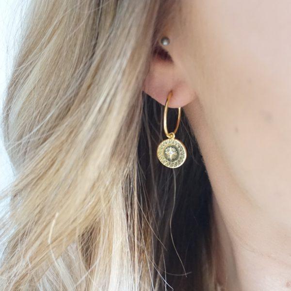 gold star disc stud earrings