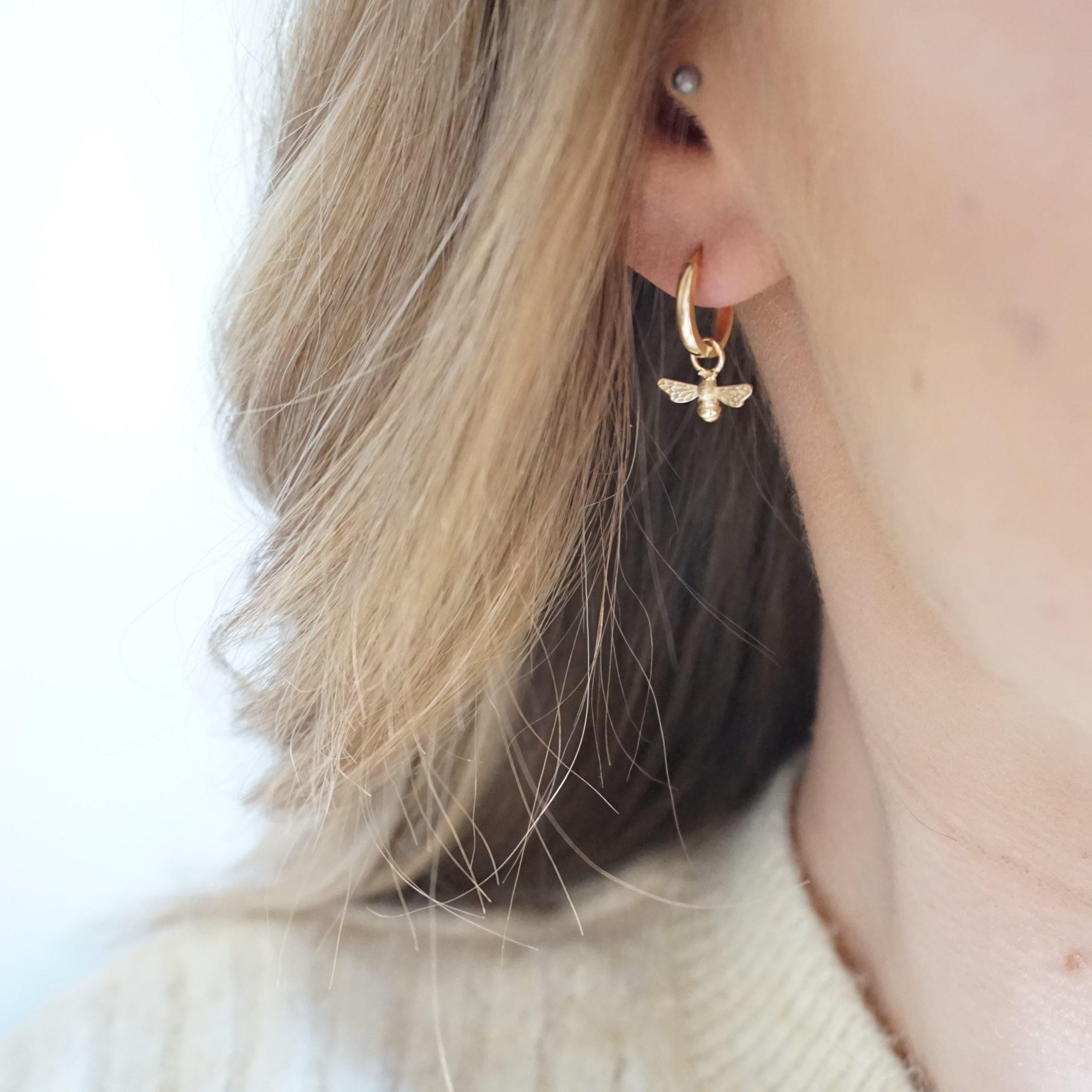 gold bee hoop earrings