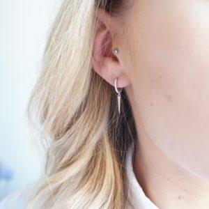 sterling silver spike hoop earrings