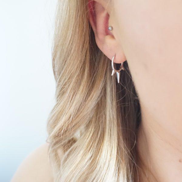 sterling silver triple spike hoop earrings
