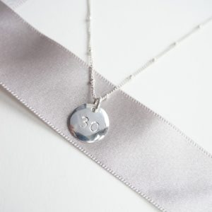 sterling silver number stamped necklace