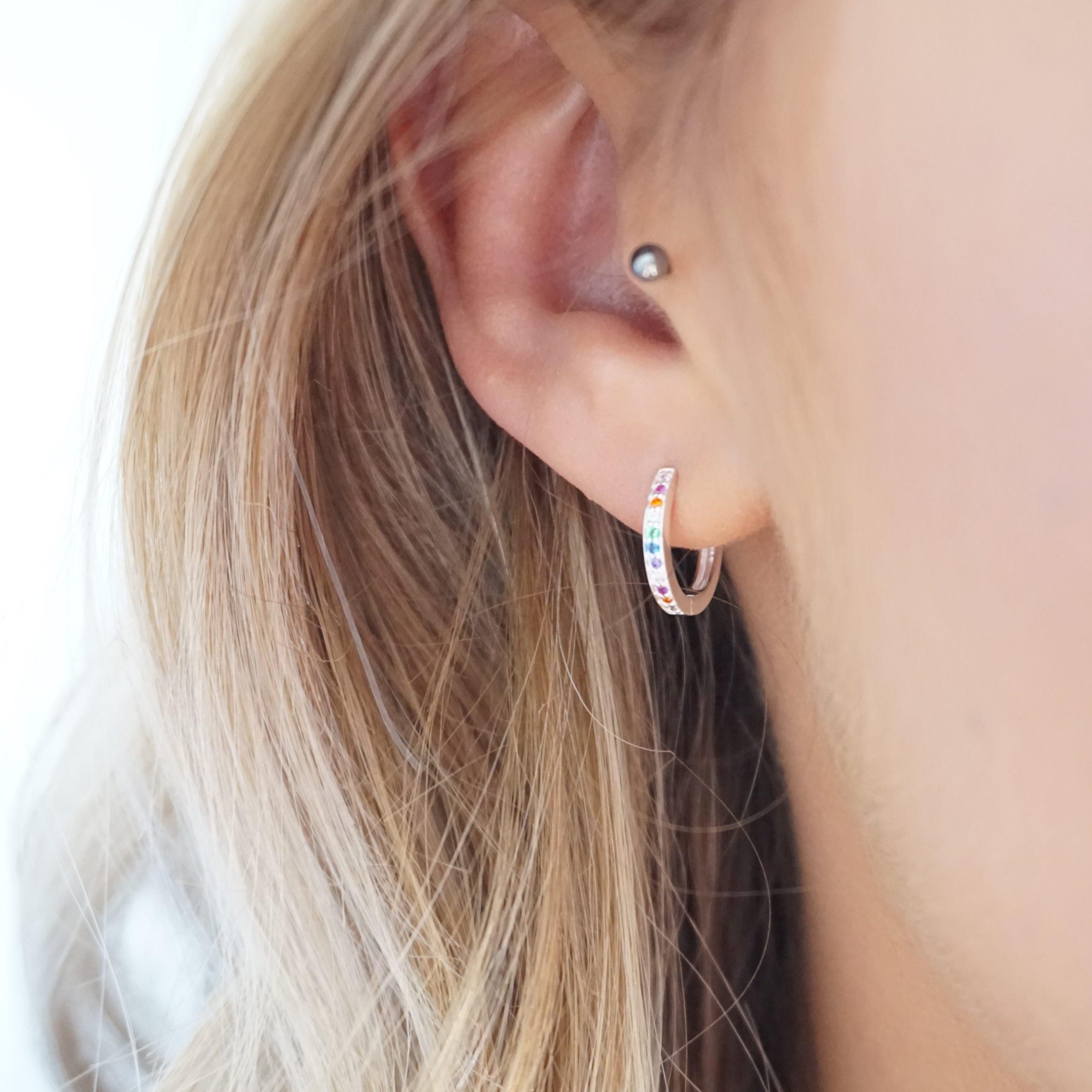 sterling silver huggie rainbow hoop earrings