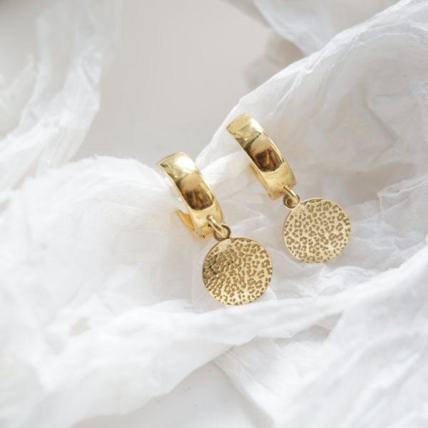 gold leopard disc hoop earrings