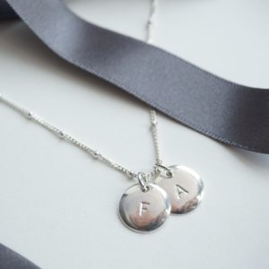 sterling silver duo initial stamped necklace