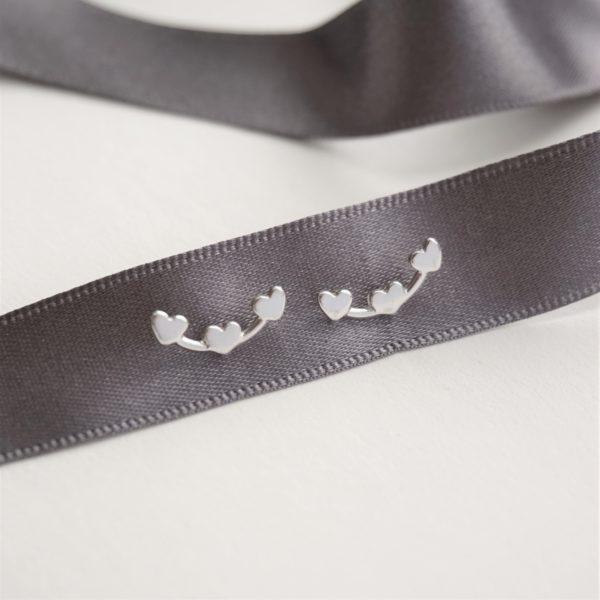 sterling silver heart cluster stud earrings