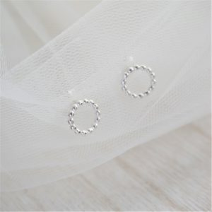 sterling silver beaded circle stud earrings